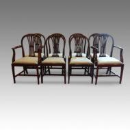Set of 8 Edwardian wheatsheath back chairs rounded back