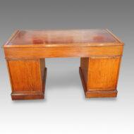 Victorian oak pedestal desk rear