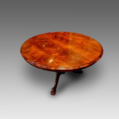 Victorian rosewood circular dining table,detail