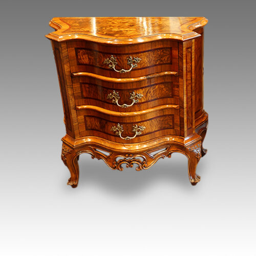Pair of Antique serpentine bedside cabinets front