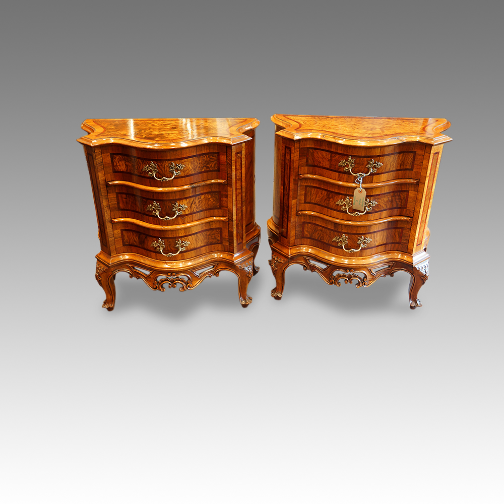 - Antique Serpentine Bedside Chests Hingstons Antiques Dealers