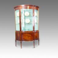 Edwardian demi lune inlaid display cabinet