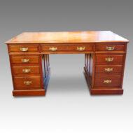 Victorian walnut pedestal desk