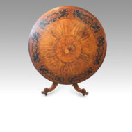 Victorian circular marquetry walnut table
