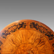 Victorian circular marquetry walnut table detail