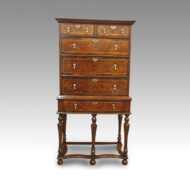Antique Burr Elm chest on stand