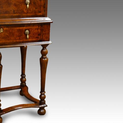 Antique Burr Elm chest on stand detail