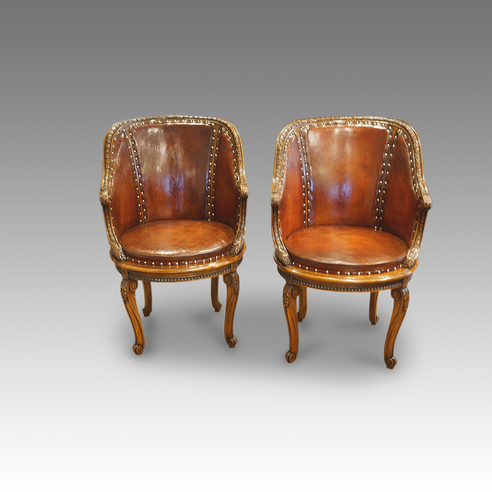 - Pair Of Edwardian Walnut Tub Chairs - Hingstons Antiques Dealers