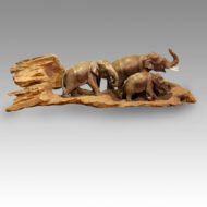 Japanese wood carving, group of elephants