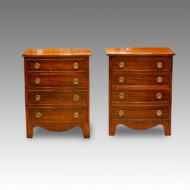 Pair of Edwardian bow fronted mahogany bedside chests
