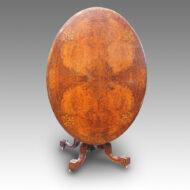 Victorian inlaid walnut oval loo table