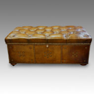 Victorian olive green leather ottoman