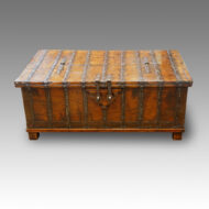 Colonial hardwood iron bound trunk