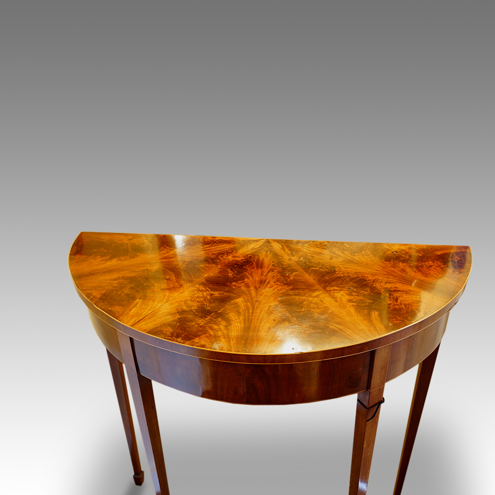 Edwardian mahogany demi lune hall table now sold for Table cuisine demi lune