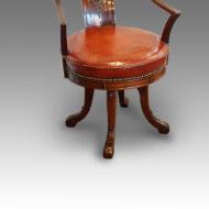 Edwardian mahogany revolving desk chair seat