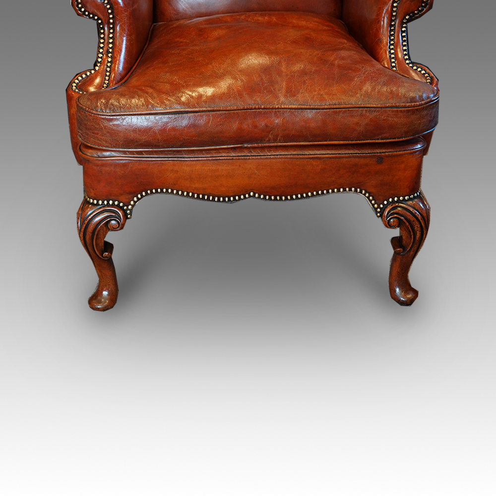 Astounding Pair Of Queen Anne Style Walnut Wing Chairs Hingstons Creativecarmelina Interior Chair Design Creativecarmelinacom