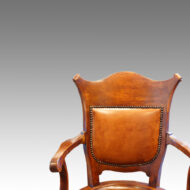 Edwardian oak revolving desk chair back