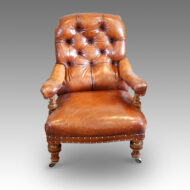 Walnut Victorian leather button back chair