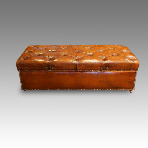 Large Edwardian leather Ottoman