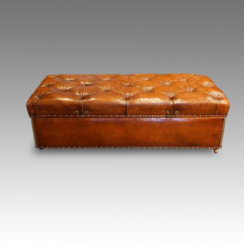 Large Edwardian leather Ottoman