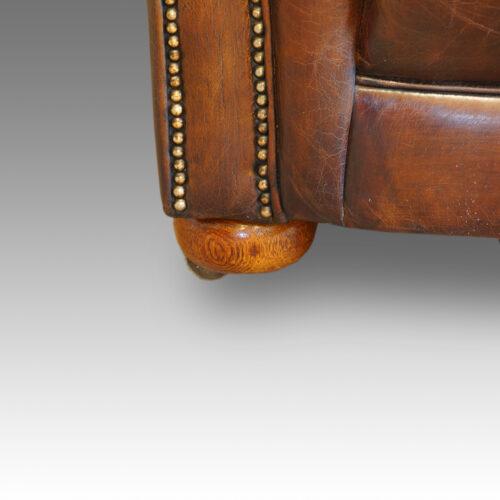 Edwardian large leather sofa