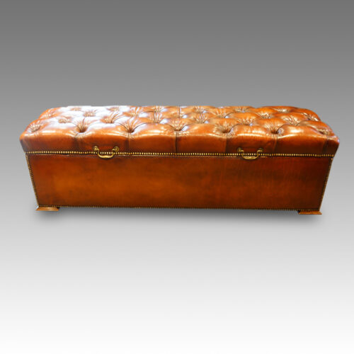 Edwardian ottoman in leather