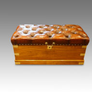 Victorian camporwood and leather ottoman trunk