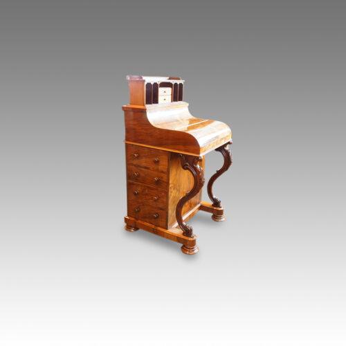Victorian walnut 'pop up' piano top Davenport desk,8