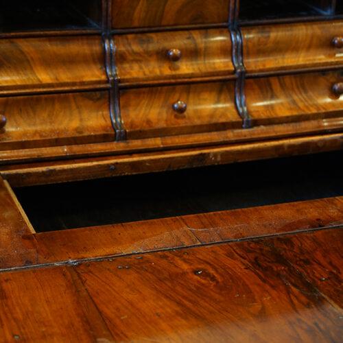 Antique bureau well interior