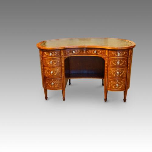 Edwardian inlaid mahogany kidney shaped desk