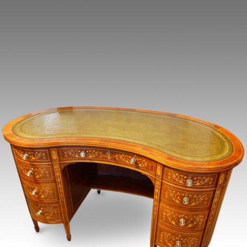 Edwardian kidney shaped desk