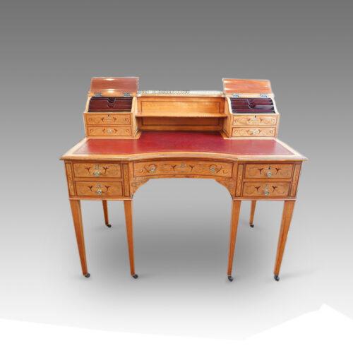Edwardian inlaid satinwood ladies deskflaps open