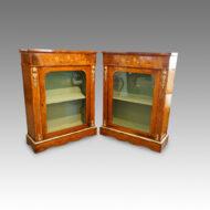 Pair of Victorian walnut inlaid pier cabinets
