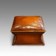 Victorian square leather and mahogany ottoman