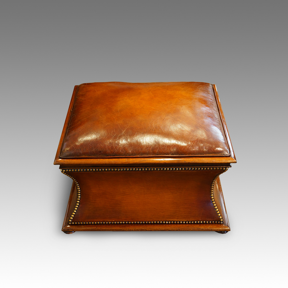 Ottomans Ornate Mahogany Ottoman: Victorian Square Leather And Mahogany Ottoman