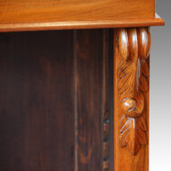 Victorian walnut open bookcase carving