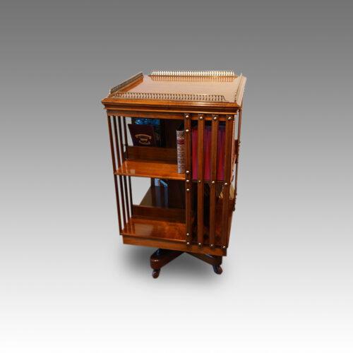 Edwardian walnut revolving bookcase