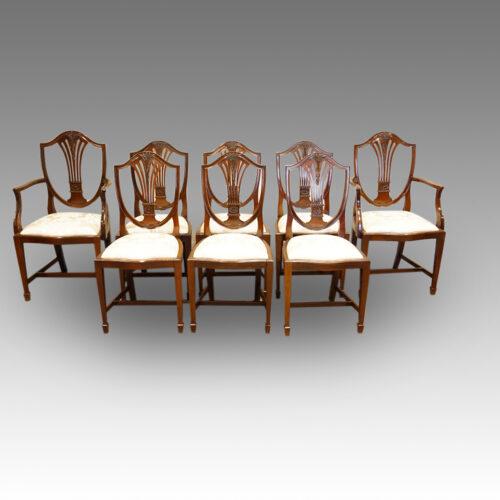 Set of 8 Shieldback mahogany dining chairs