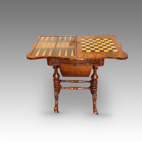 Victorian walnut games work table