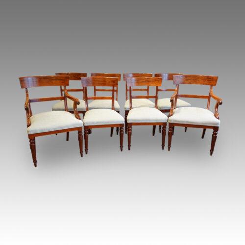 William IV mahogany set of 8 dining chairs