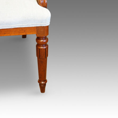 Antique mahogany turned leg of dining chair