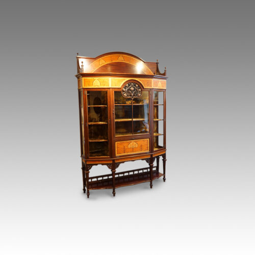 Art Nouveau inlaid display cabinet, side view