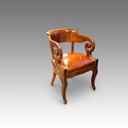 Empire mahogany desk tub shaped chair