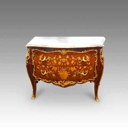 French inlaid serpentine marble top commode,1930's