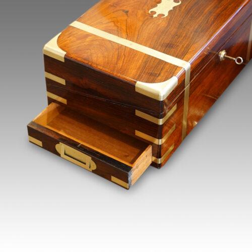 End drawer of antique desk