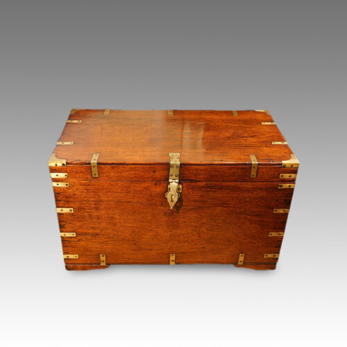 Antique teak military chest
