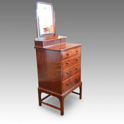 Edwardian mahogany gentlemans dressing chest side detail