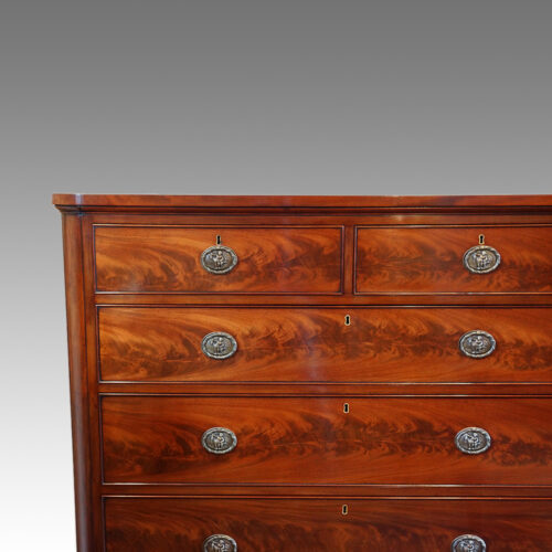 Large Victorian mahogany chest of drawers detail front