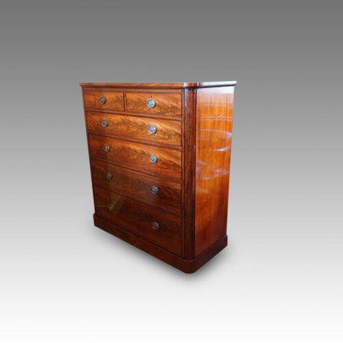 Large Victorian mahogany chest of drawers side view