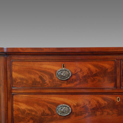 Large Victorian mahogany chest of drawers top drawer
